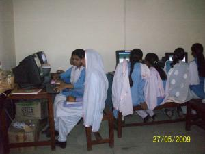 Girls in a computer training session, Pakistan