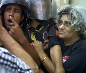 Activist Laila Soueif in a demonstration