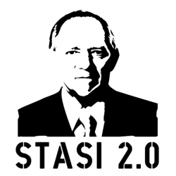 Stencil of Minister Wolfgang Schäuble: Stencil for German campaign against the EU Directive on data retention. Licence: CreativeCommons Attribution-NonCommercial-ShareAlike 3.0