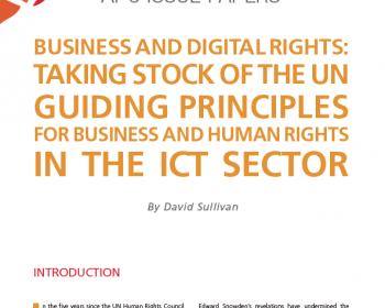 Business and digital rights: Taking stock of the UN Guiding Principles for Business and Human Rights in the ICT sector