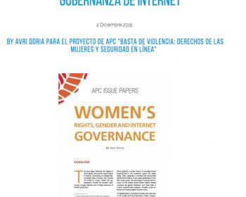Nuevo informe: Derechos de las mujeres, género y gobernanza de Internet