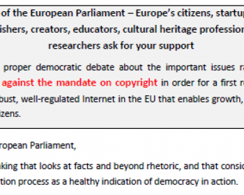 Call to members of the European Parliament: Open letter on the EU copyright reform