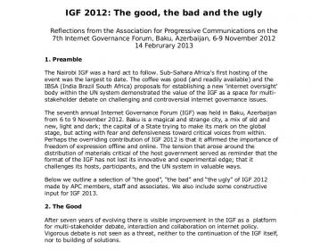 IGF 2012: The good, the bad and the ugly