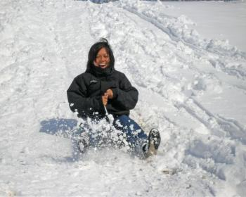 Mylène Soto in the snow
