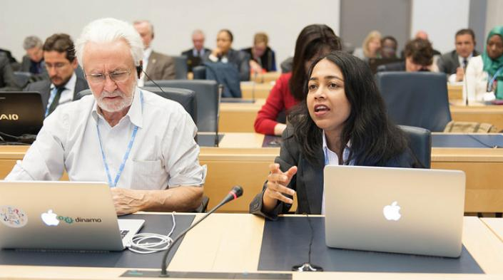 Two panelists during the WSIS 2016 high-policy session. Geneva, 6 May, 2016. Source: ITU on Flickr