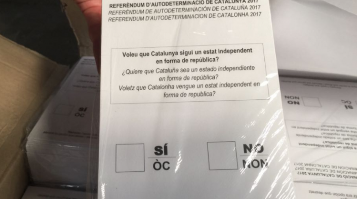 Image: Ballot of the referendum in Catalonia. Source: Twitter
