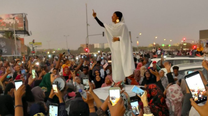 Picture of Alaa Salah, who has become an icon of peaceful protests in Sudan. Shared by Salah on Twitter