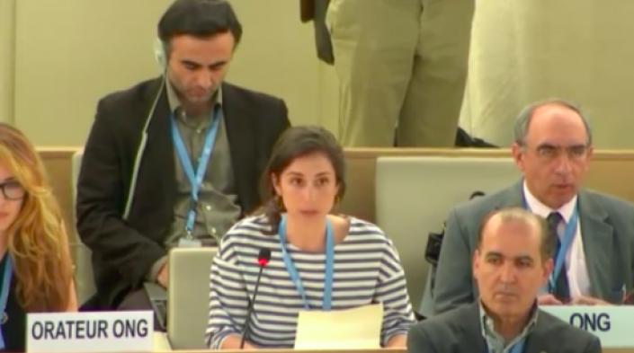 APC's Deborah Brown delivering an oral statement at the 38th session of the UN Human Rights Council, June 2018. Image source: HRC.