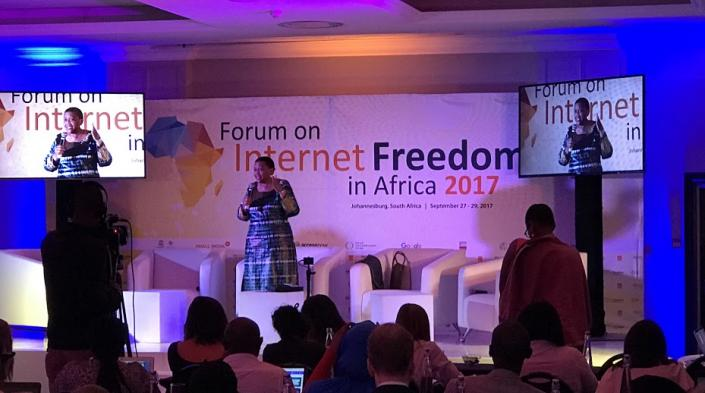 Adv. Tlakuladuring her keynote at the Forum on Internet Freedom in Africa 2017.