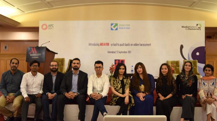 Image: Teams of MMfD and Code for Pakistan launched Muavin application in Islamabad, 13 September. Source: MMfD