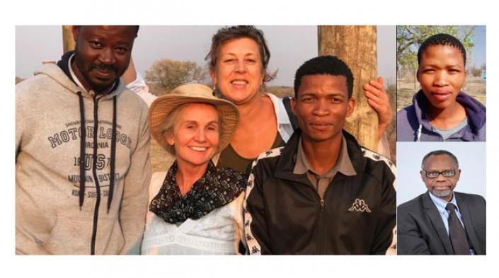 Image: Martin, Candi, Nic and Cquk (translator). On the right side, |Kun and Prof Kingo.