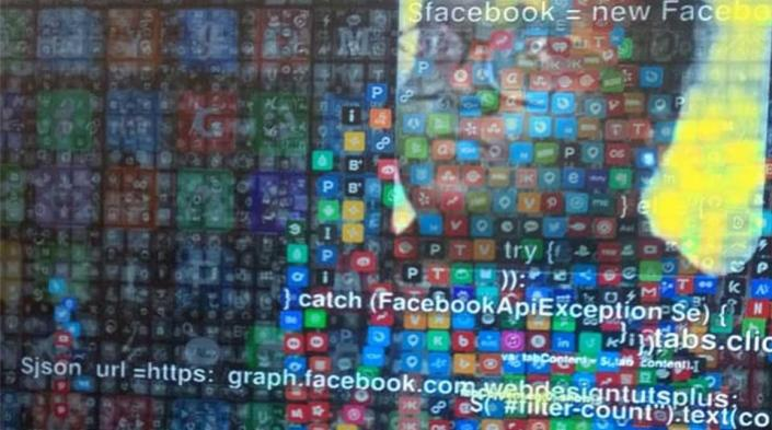 Visible outline of person against wall of apps. Image source: Smita