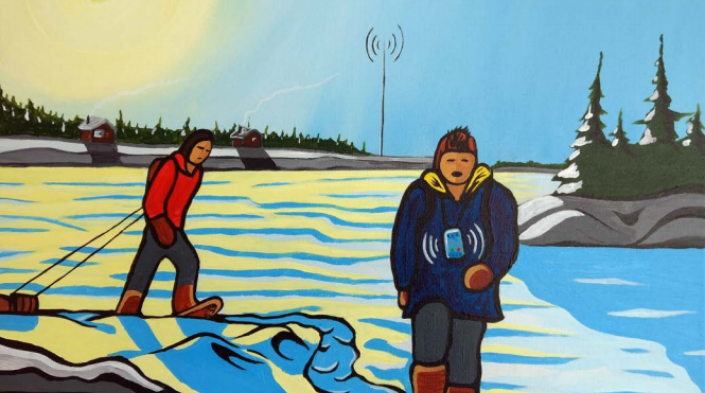 "Image by artist Jesse Fiddler published on the cover of ""Stories from the First Mile: Digital Technologies in Remote and Rural Indigenous Communities"", under Creative Commons license."