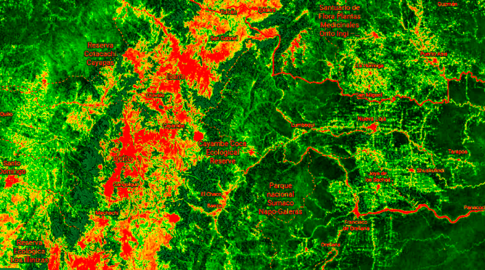 Imagen: Vista satelital de Ecuador.