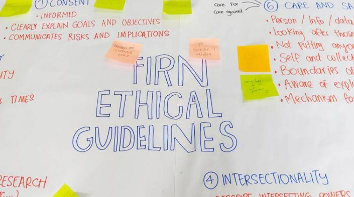 Image description: Flip chart with post-its illustrating the ethical practices. Image source: Documentation by APC-WRP of the inception meeting of the feminist internet research network in February-March 2019 in Malaysia.