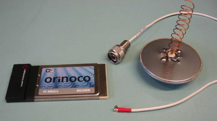 Image: An early wireless card and home-made antenna made by Mike Jensen.