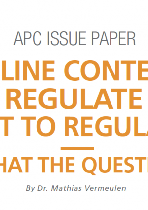 Online content: To regulate or not to regulate – is that the question?